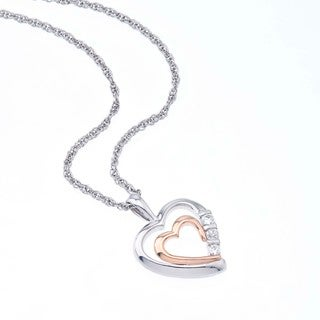 Two-tone Silver 1/10ct TDW Diamond Heart Necklace By Ever One (H-I, I2-I3)