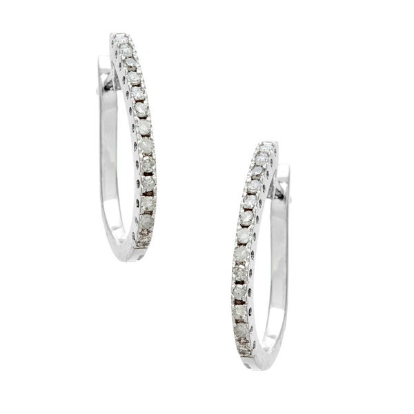 14k White Gold 1/4ct TDW Diamond Oval Hoop Earrings (H-I, I1-I2)