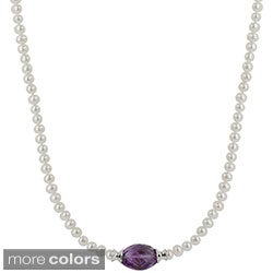 Sterling Silver White Freshwater Pearl & Amethyst or Blue Topaz Necklace (4-4.5 mm)