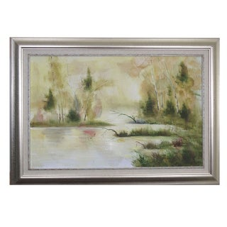 'Tranquil Lake' Hand Painted Framed Canvas Art