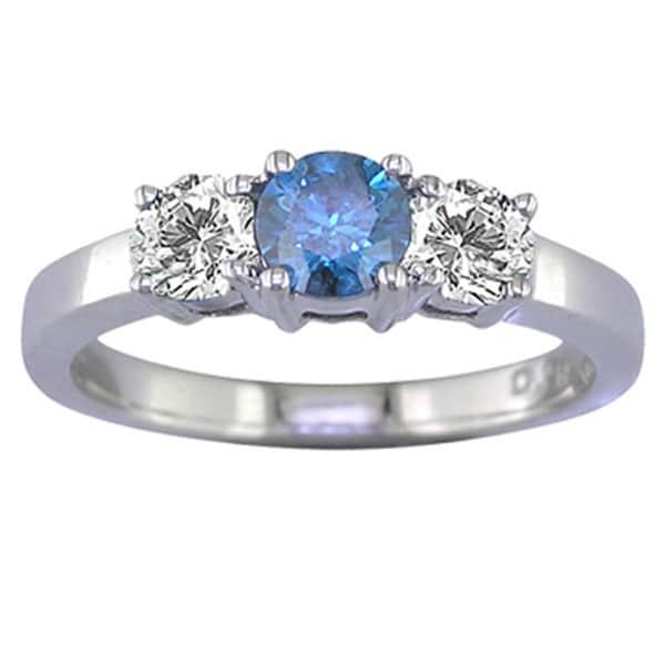 14k Gold 1/2ct TDW Blue and White Diamond 3-stone Ring (G-H, I1-I2)