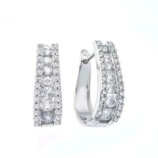 14k White Gold 1 1/2ct TDW Diamond Hoop Earrings By Ever One