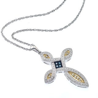 STERLING SILVER 1/8ct TDW BLUE & BROWN DIAMOND CROSS PENDANT By Ever One ( C3 - I1)