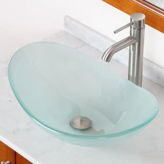 Elite GD33F371023BN Tempered Bathroom Glass Vessel Sink W. Unique Oval Shape With Faucet Combo|https://ak1.ostkcdn.com/images/products/8238449/8238449/ELITE-GD33F371023BN-Tempered-Bathroom-Glass-Vessel-Sink-W.-Unique-Oval-Shape-With-Faucet-Combo-P15566843.jpg?impolicy=medium