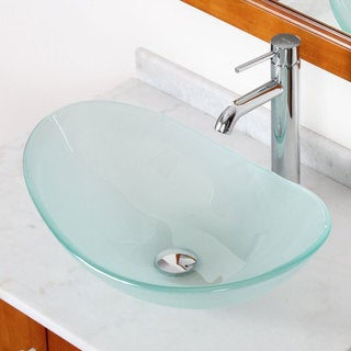 Elite GD33FF371023C Tempered Bathroom Glass Vessel Sink W. Unique Oval Shape With Faucet Combo