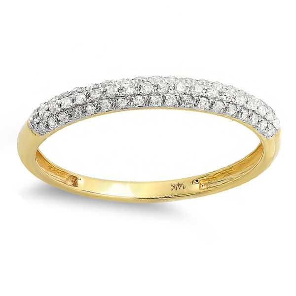 14k Yellow Gold 1/4ct TDW Diamond Pave Wedding Band (I-J, I2-I3). Opens flyout.
