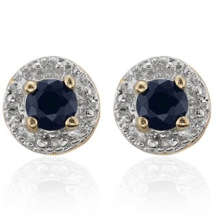 Dolce Giavonna Round Sapphire Stud Earrings