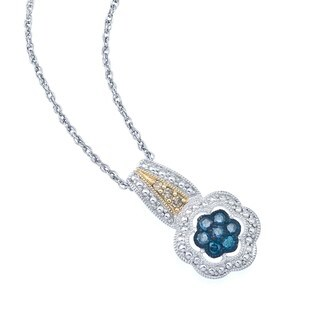 Sterling Silver 1/4ct TDW Blue and Brown Diamond Necklace By Ever One
