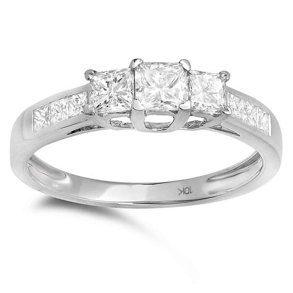 10k White Gold 1ct TDW Princess Cut 3-stone Diamond Engagement Ring (H-I, I1-I2)