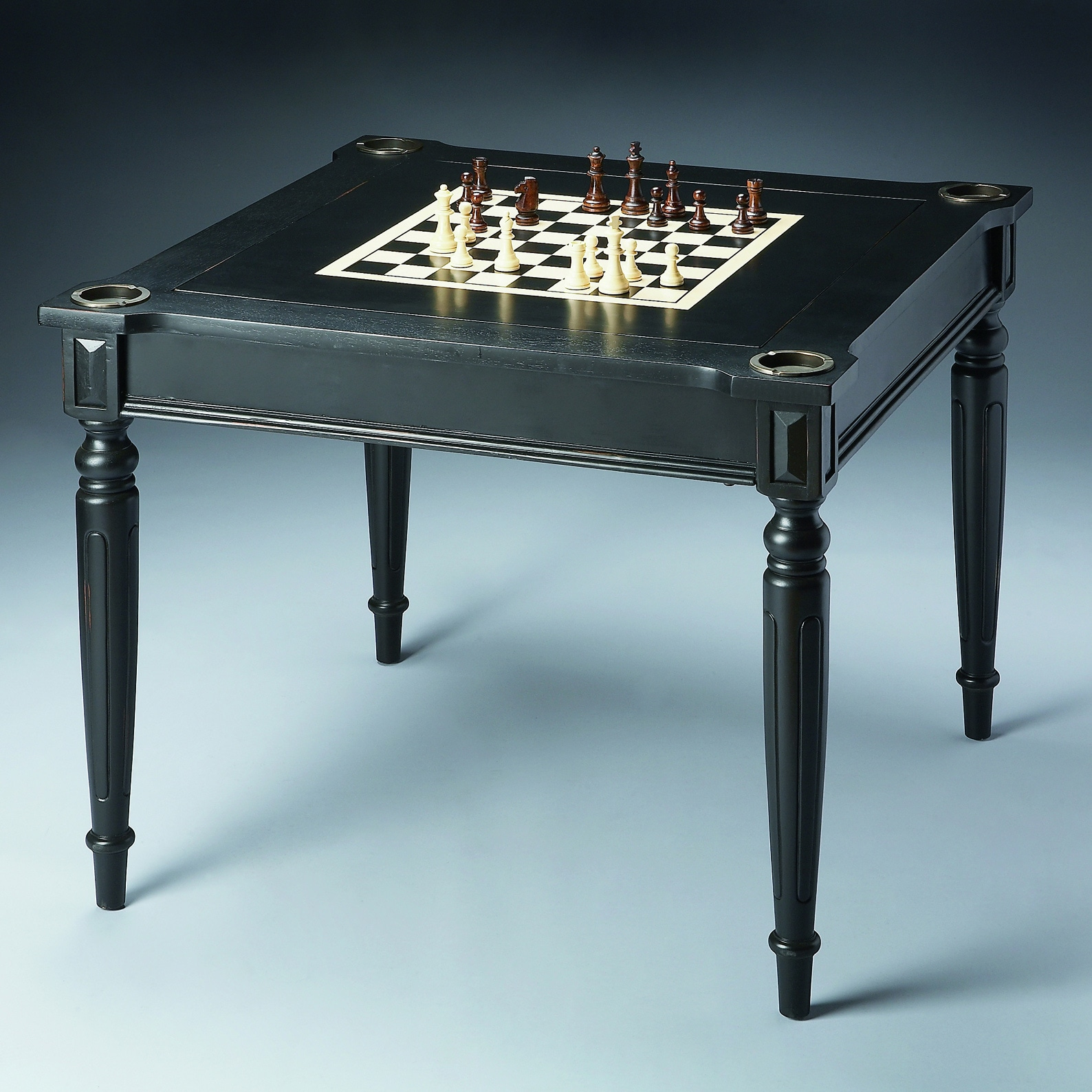 Ebony Chess / Checkers Game Table (Butler Game Table), Black