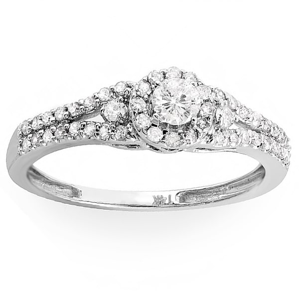 Elora 14k White Gold 1/2ct TDW Split Shank Halo Diamond Ring