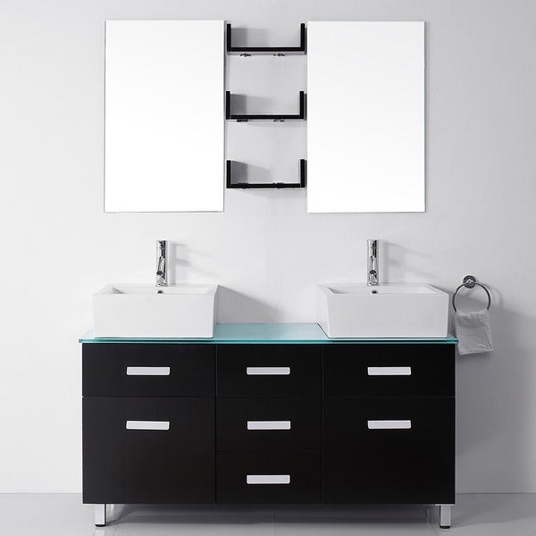 Shop Virtu Usa Maybell 56 Inch Double Sink Bathroom Vanity Set Free Shipping Today Overstock