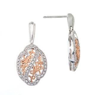 Two-tone Sterling Silver 1/4ct TDW Diamond Filigree Earrings By Ever One (H-I, I2-I3)