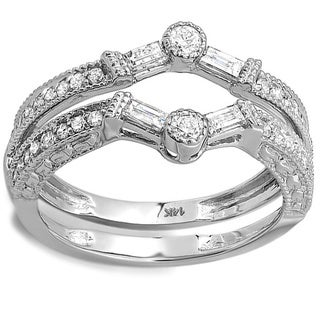 Elora 14k White Gold 1/2ct TDW Diamond Engagement Ring Enhancer Guard (H-I, I1-I2)