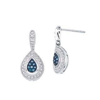 Sterling Silver 1/8ct TDW Blue Diamond Teardrop Earrings By Ever One