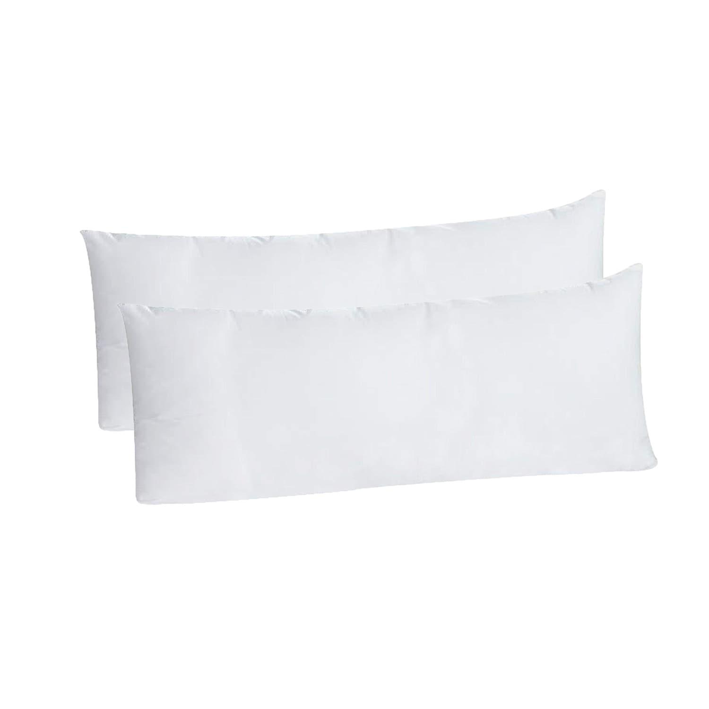White Egyption Cotton And Microfiber Body Pillowcases Set Of 2