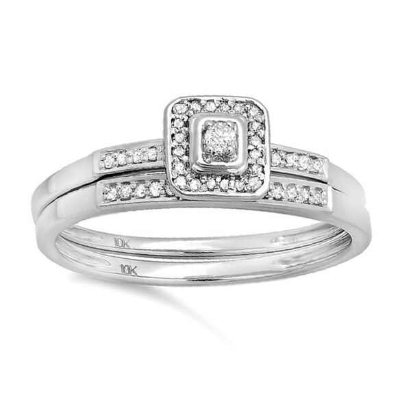 10k Gold 1/6ct TDW Diamond Halo Bridal Ring Set (H-I, I1-I2)
