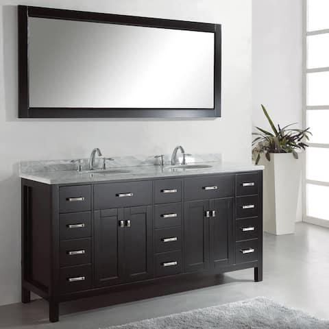 Caroline Parkway 72-inch Double Vanity White Marble Top Mirror