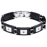 Black Ceramic and Stainless Steel 1/10ct TDW Diamond Bracelet