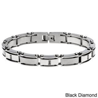 Stainless Steel 1/10ct TDW Diamond Bracelet