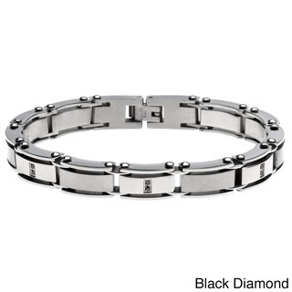 Stainless Steel 1/10ct TDW Diamond Bracelet