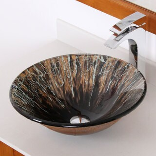 Elite 1310 Hand Painted Art Round Bell Shape Tempered Glass Bathroom Vessel Sink