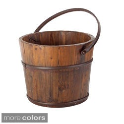 Antique Revival Round Wooden Wash Bucket