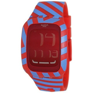 Swatch Women's Digital SURR103 Two-Tone Silicone Swiss Quartz Watch with Red Dial