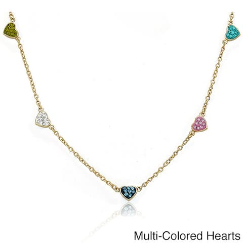 Molly Glitz Goldplated Children's Crystal Heart Station Necklace