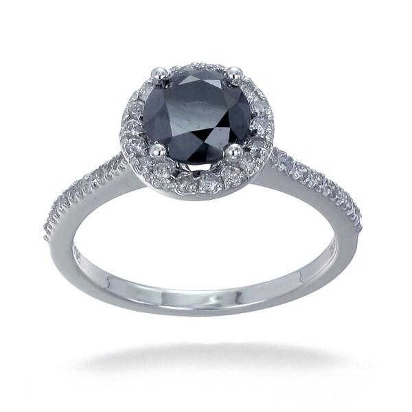 14k Gold 1 3/4ct TDW Black and White Diamond Halo Ring