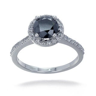 14k Gold 1 3/4ct TDW Black and White Diamond Halo Ring