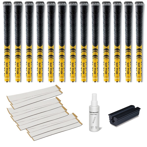 Golf Pride New Decade MCC Yellow - 13pc Grip Kit (with tape, solvent, vise clamp)
