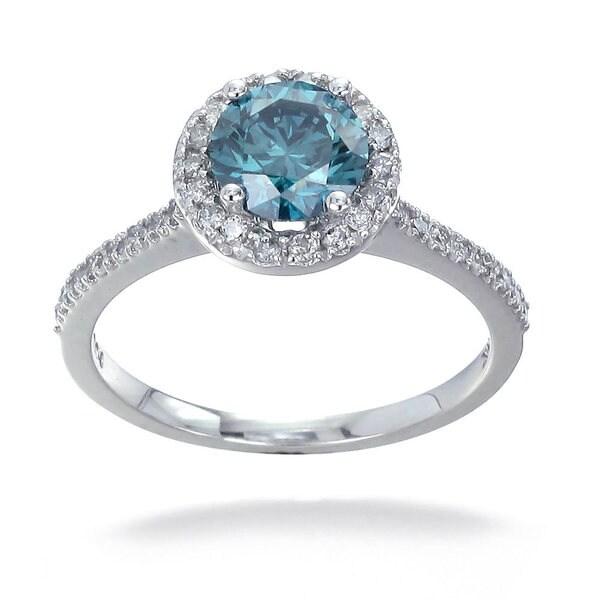 14k Gold 1 1/3ct TDW Blue and White Diamond Halo Engagement Ring (G-H, I1-I2)