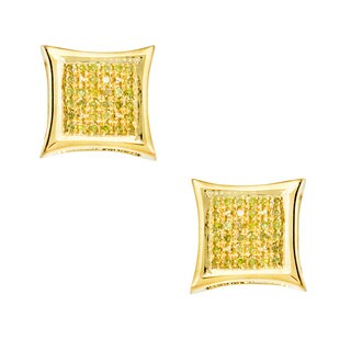 18k Yellow Gold over Silver 1/6ct TDW Yellow Diamond Earrings