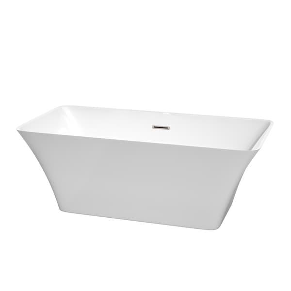 Wyndham Collection Tiffany White 59 Inch Soaking Bathtub