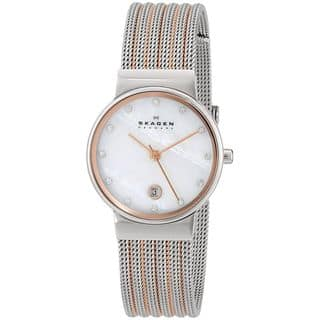 Skagen Women's 355SSRS Two-Tone Stainless-Steel Analog Quartz Watch with Mother-Of-Pearl Dial|https://ak1.ostkcdn.com/images/products/8238799/P15566938.jpg?impolicy=medium