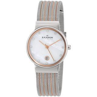Skagen Women's 355SSRS Two-Tone Stainless-Steel Analog Quartz Watch with Mother-Of-Pearl Dial - silver