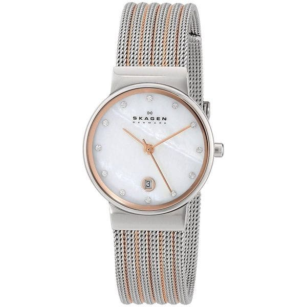 d2b7aa80d Skagen Women's 355SSRS Two-Tone Stainless-Steel Analog Quartz Watch with Mother-Of-Pearl  Dial