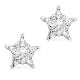 14k White Gold 1/3ct TDW Diamond Star Shaped Earrings (G-H, SI1-SI2)