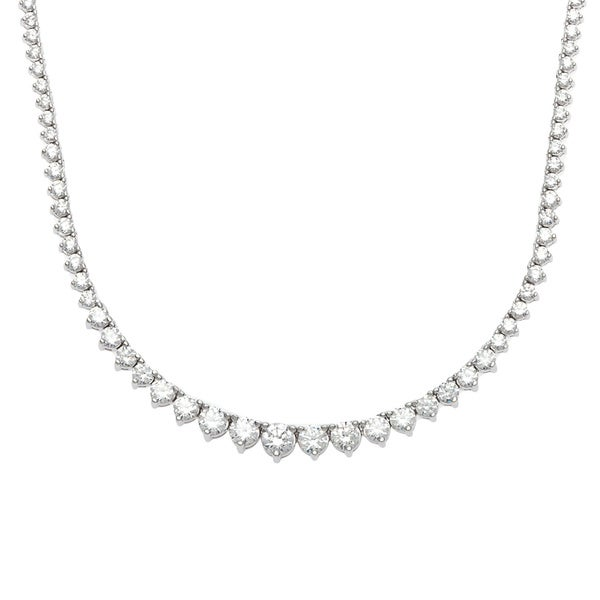 Cubic Zirconia Tennis Necklace Sterling Silver