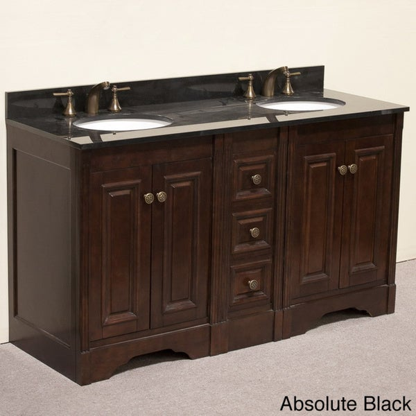 Natural Granite Top 60 Inch Double Sink Traditional Style