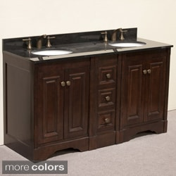 Natural Granite Top 60 inch Double Sink Traditional Style Bathroom Vanity in Dark Walnut Finish