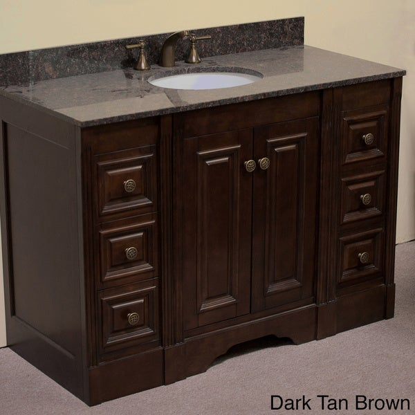 granite top 48 inch single sink traditional style bathroom vanity