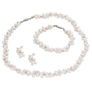 Pearlyta Multi-colored FW Pearl 3-piece Jewelry Set (6-7 mm)
