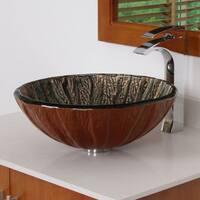 Elite 7015 Antique Copper Design Tempered Glass Bathroom Vessel Sink