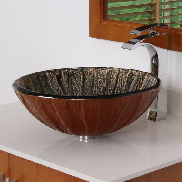 Elite 7015 Antique Copper Design Tempered Glass Bathroom Vessel Sink