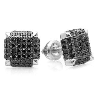 Elora Sterling Silver Men's 1/2ct TDW Black Diamond Square Earrings