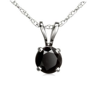 14k White Gold 1/2ct TDW Round Black Diamond Solitaire Pendant