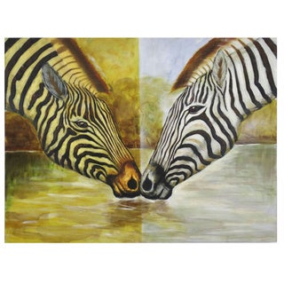 'Mirrored Zebra' Hand Painted Canvas Art