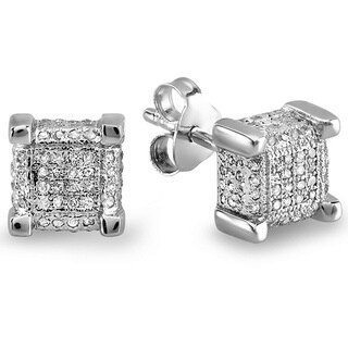 Elora Sterling Silver 1/3ct TDW Diamond Square Dice Earrings (I-J, I2-I3)